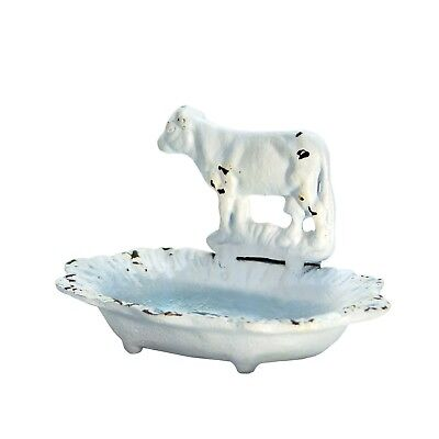 Cast Iron Cow Soap Dish Vintage Inspired Antique White Farmhouse Soap Holder