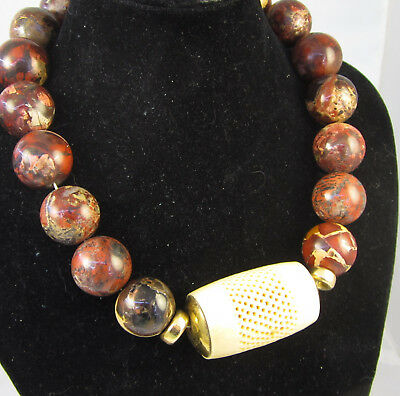 Estate Vintage HUGE DOLFI Collection Red Jasper 19.7 mm Bead  230 Gram Necklace