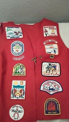 Vintage 1970s Red Wool Vest Sagamore Ind BSA Honor Troops with Patches