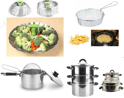 Large Kitchen Stainless Steel Stock Pot Steamer Dish Veg Meat Food Chip Pan Set