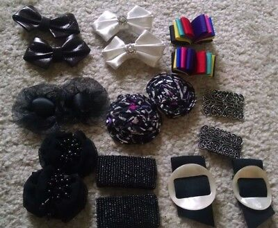 Huge lot of 9 pairs Vintage Leather Flower and Metal Shoe Clips Decorations