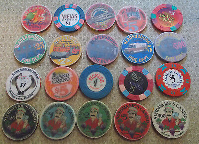 LOT OF 20 DIFF.  denomination CASINO CHIPS~ VARIOUS LOCATIONS (#9c) $2.99 ship