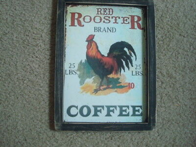 """Prim Country Print ~RED ROOSTER COFFEE~ black frame 8 1/2"""" x 11 1/2"""" FREE SHIP!"""