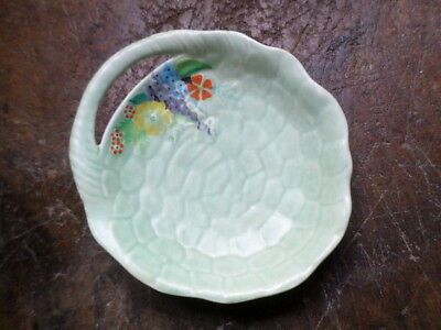 Green Cobblestone Carlton Ware Shallow Bowl With Floral Decoration