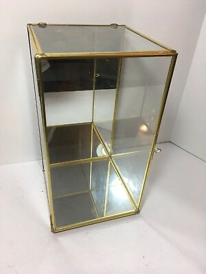 """Glass & Brass Gold Toned Metal Display Cabinet Curio Case 11.75"""" Tabletop Wall"""