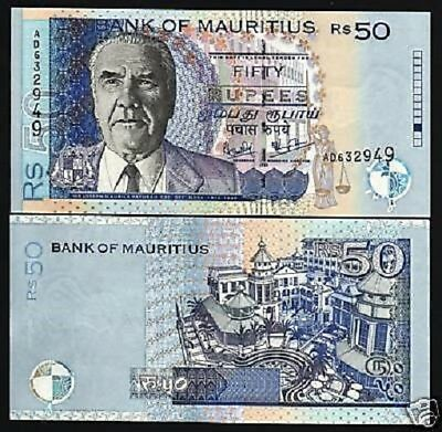 Mauritius 50 Rupees P50 A 1999 Paturau Justice Unc Money Bill Bank Note