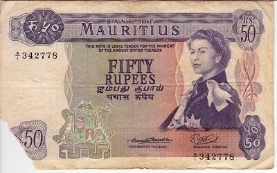MAURITIUS 50 RUPEES P33 a 1967 SHIPS QUEEN RARE CURRENCY MONEY DAMAGE BANK NOTE