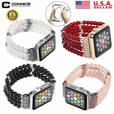 Bling Pearl Strap Bracelet Watch Band +Case cover for Apple Watch 3/2/1 42/38 MM