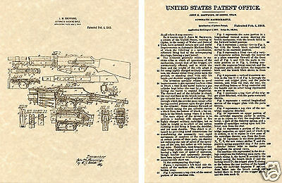 BROWNING AUTOMATIC RIFLE US Patent Art Print - BAR 1917 John Moses Bonnie Clyde