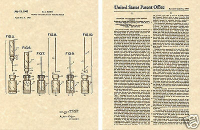 1965 Vaccine NEEDLE US PATENT Art Print READY TO FRAME Vaccinating Testing