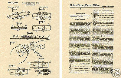 US PATENT for the BAND AID Art Print READY TO FRAME 1958 bandaid