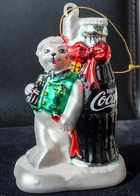 Lot of 5 HAND-BLOWN GLASS COCA COLA Christmas Ornaments -  USED EXCELLENT COND.