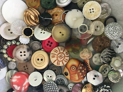RARE LOT! 1000 pcs MIXED LOT of OLD-VINTAGE & NEW Buttons ALL TYPES & SIZES