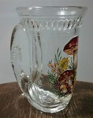 VINTAGE 1985 80's KOSSINGER KG 12 oz. German Horn Glass Beer Mug Mushroom Design