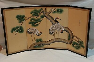 Antique signed Japanese hand painted water color 4 panel folding screen