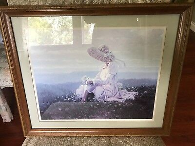 Home Interior Wood Framed Lady in a Flower Field Scene Picture