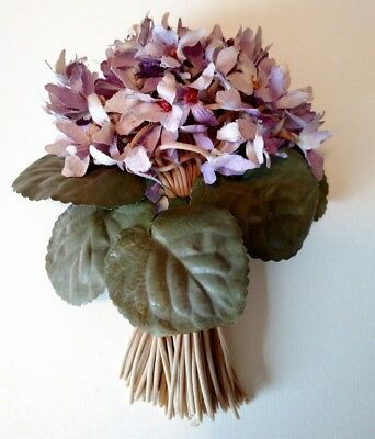 c1940 Vintage SILK VIOLETS Flowers Millinery Hat Floral Bunch FANTASTIC!