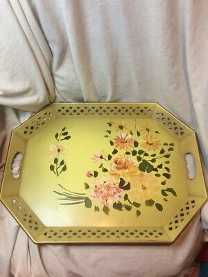 """Vintage Antique NASHCO Metal Tray Hand Painted Toleware Floral NICE 20""""x15"""""""