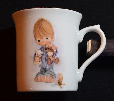 """1980 Enesco Precious Moments Mug Title """" Blessed Are The Peacemakers"""" Gold Rim"""