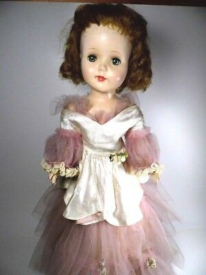 """Vintage 1950s American Character Sweet Sue Walker Doll 24"""" Tall Pink Lace Gown"""