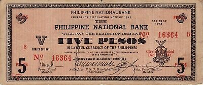 1941 Philippine Emergency Currency (Negros Occidental) 5 Pesos Banknote