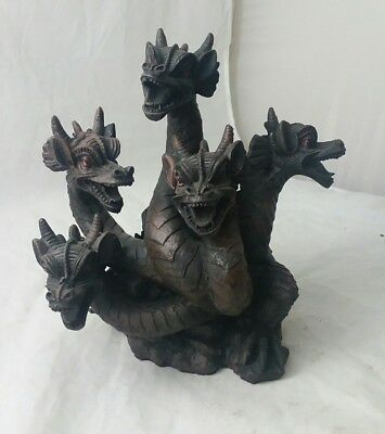 "5-headed DRAGON SMOKE breathing INCENSE burner, resin, never used, 9"" tall,"