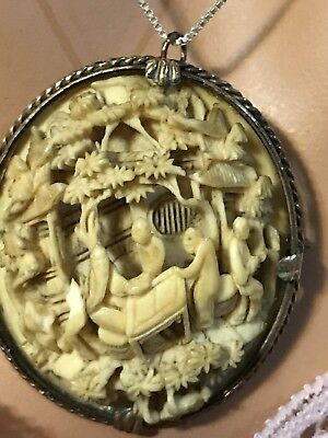 Vintage/Antique Oriental Hand Carved Brooch/ Pendant -Theme