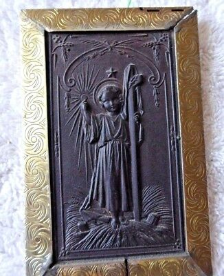 ANTIQUE GUTTA PERCHA OF CHILD JESUS HOLDING HOST OF THE HOLY EUCHARIST 19th CENT
