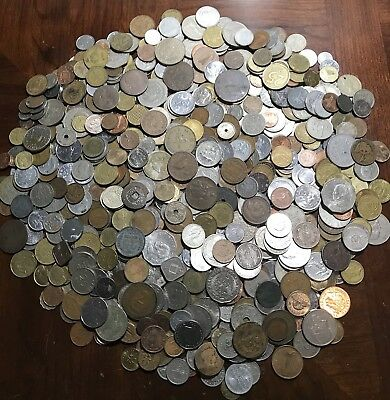 Lot Of ** 6.1 Lbs.** Foreign / World Coins Great Mix!! HUGE PILE!!