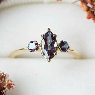 Unique Jewelry 18k Yellow Gold Filled Alexandrite Wedding Rings for Women