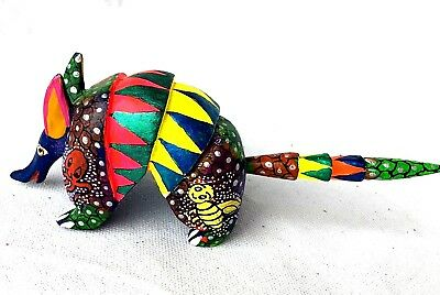 Colorful Armadillo  Alebrije Hand-Painted Wood Carving - Oaxaca Mexico