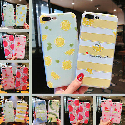 For iPhone X 8 6s 7 Plus Cover Cute Fruits Pattern Slim Relief Matte Soft Case