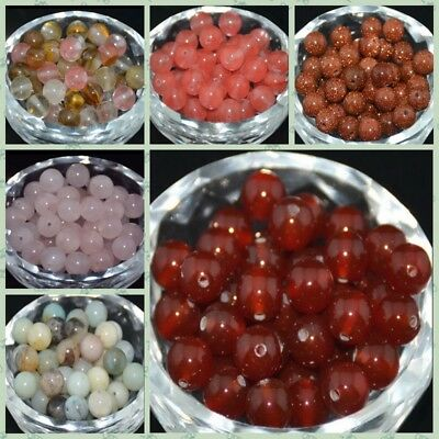 LOT Wholesale Smooth Natural Gemstone Round Spacer Loose Beads 4MM 6MM 8MM 10MM