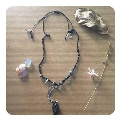 Crescent Moon Healing Crystal Macrame Pendant Quartz Wiccan Wicca Pagan Witch