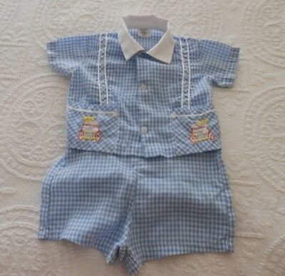 Vintage Baby Boy 2 Piece Blue And White Gingham Jumper Set