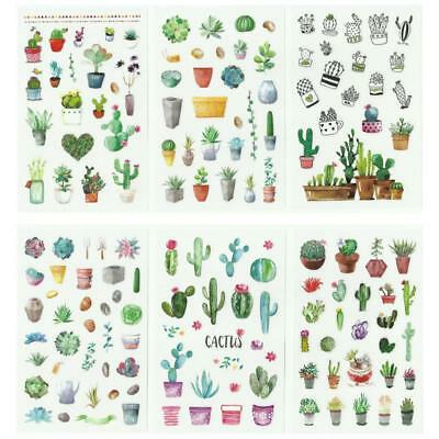 6 Sheets Cute Cartoon Cactus Green Stickers Diary Scrapbooking Stationery Decor