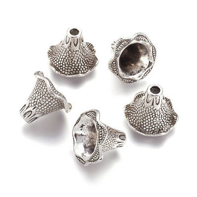 10PC Tibetan Alloy Flower Bead Caps Apetalous Bumpy Antique Silver Findings 22mm