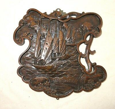 antique hand carved Chinese wood figural relief wall nautical sculpture panel