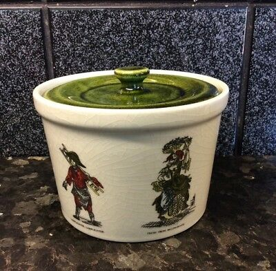 Holkham Pottery England Mustard, Sugar Pot, w lid Cries of London