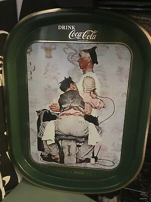 Vintage Norman Rockwell Coca Cola Tattoo Shop Decorative Tray