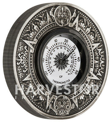 2018 Thermometer Silver Antiqued 2 Oz. Silver Coin - With All Ogp & Coa