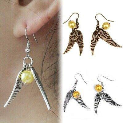 e3f858080d2f Harry Potter Quidditch Gold Snitch Pendientes aretes Ángeles alas Cosplay