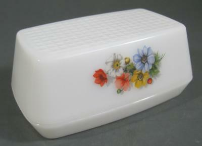 Vintage/retro 60s-70s milk glass/floral butter dish 2 piece -kitchenalia