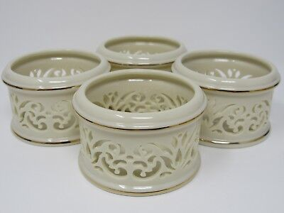 4 Lenox China Votive Candle Holders Ivory Pierced Scrollwork  24kt Gold Banding