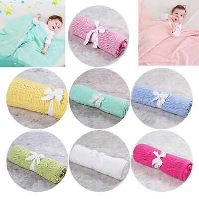 Soft 100% Cotton Baby Cellular Blanket Wrap for Pram, Moses, Crib and Stroller