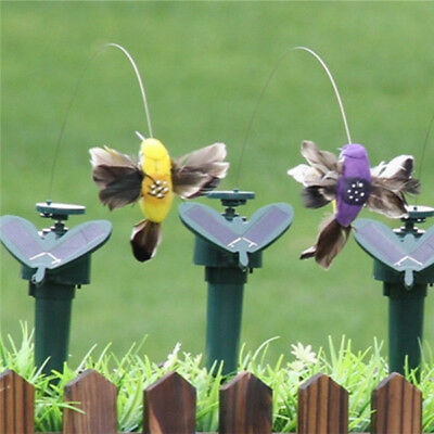 Solar Powered Flying Fluttering Hummingbird Birds Butterfly Home Garden Decor