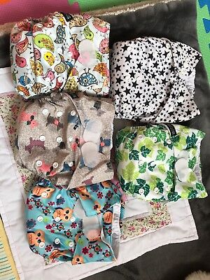 5 Little bloom pocket reusable cloth nappies bundle USED with 10 inserts