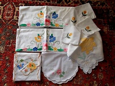 Vintage White Cotton Hand Embroidered Applique Pillowcaes~Tablecloth~Napkins Ect