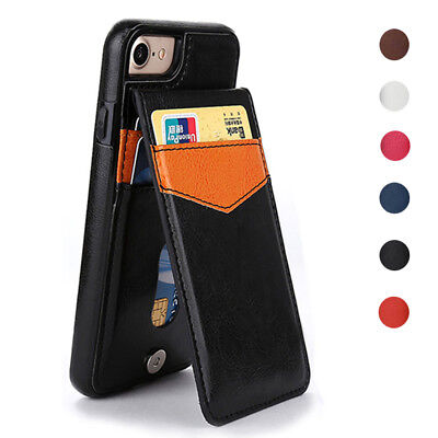 Leather Flip Stand Case For iPhone 6s 7 8 Plus X Wallet Card Slot Magnetic Cover