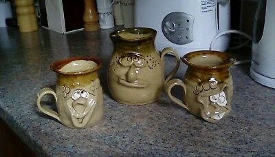 Ugly Pottery Wales Two  Mugs And Milk Cream Jug Collectables Face